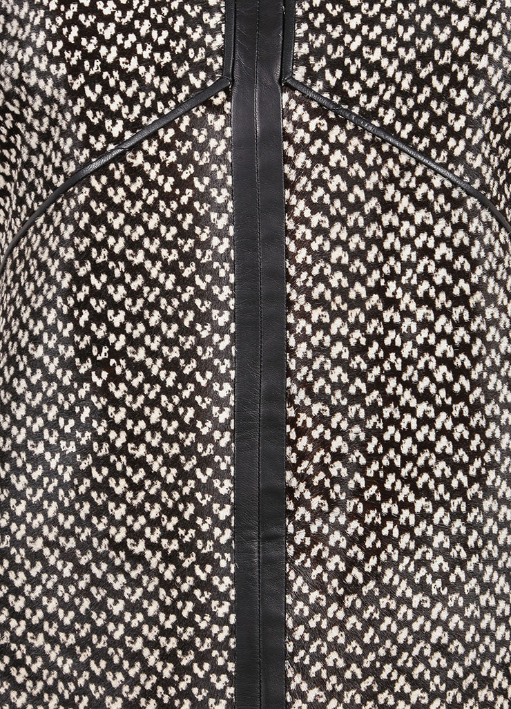 J. Mendel New With Tags Black and White Haircalf Leather Dropped Waist Dress Detail