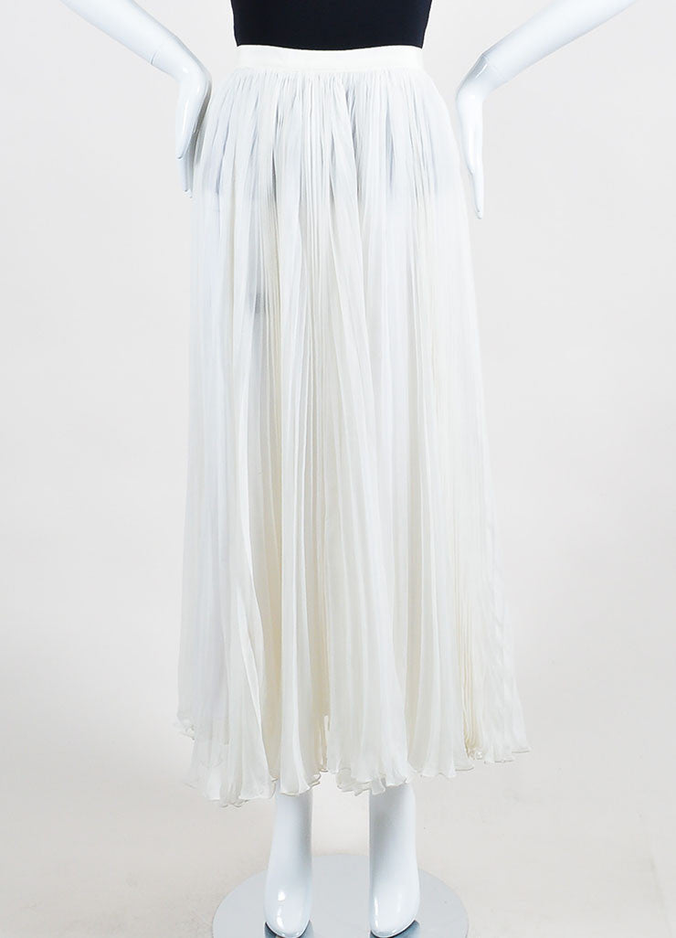 Ivory White J. Mendel Silk Chiffon Accordion Pleated Maxi Skirt Frontview