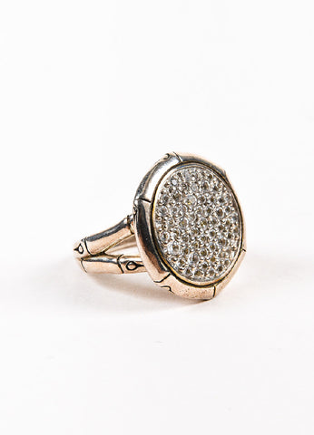 "John Hardy Sterling Silver and Pave White Topaz ""Lava Disc"" Cocktail Ring Sideview"