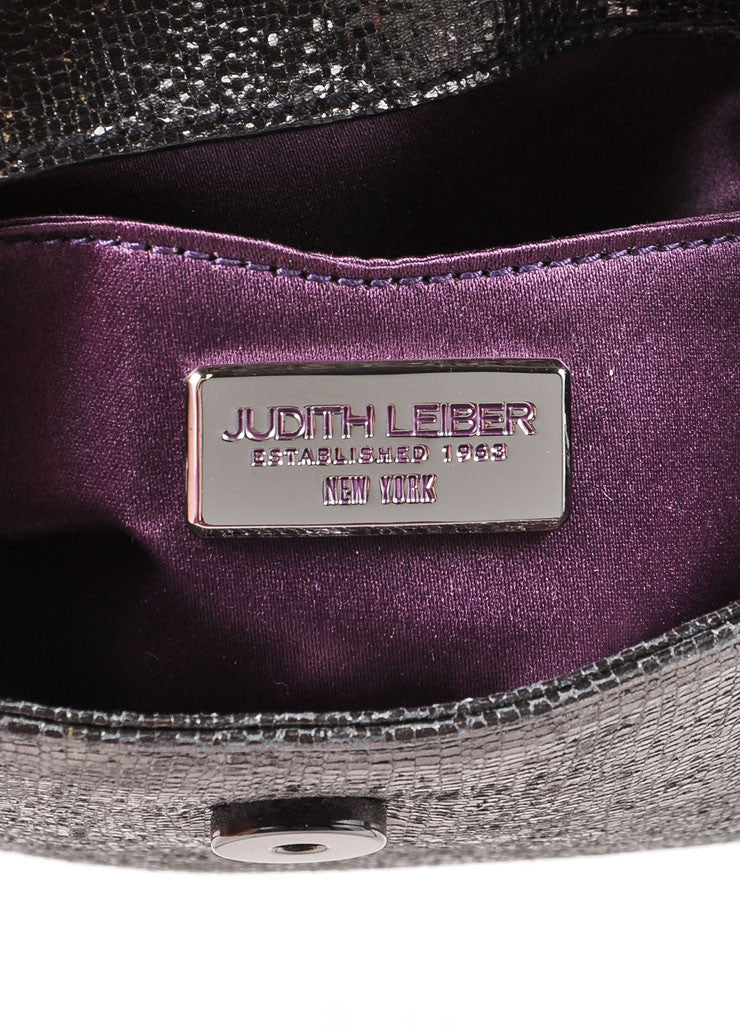 Judith Leiber Grey Metallic Leather Chain Strap Clutch Bag Brand