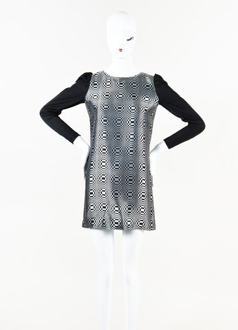 Junya Watanabe Comme des Garcons Black Silver Metallic Check Dress Front