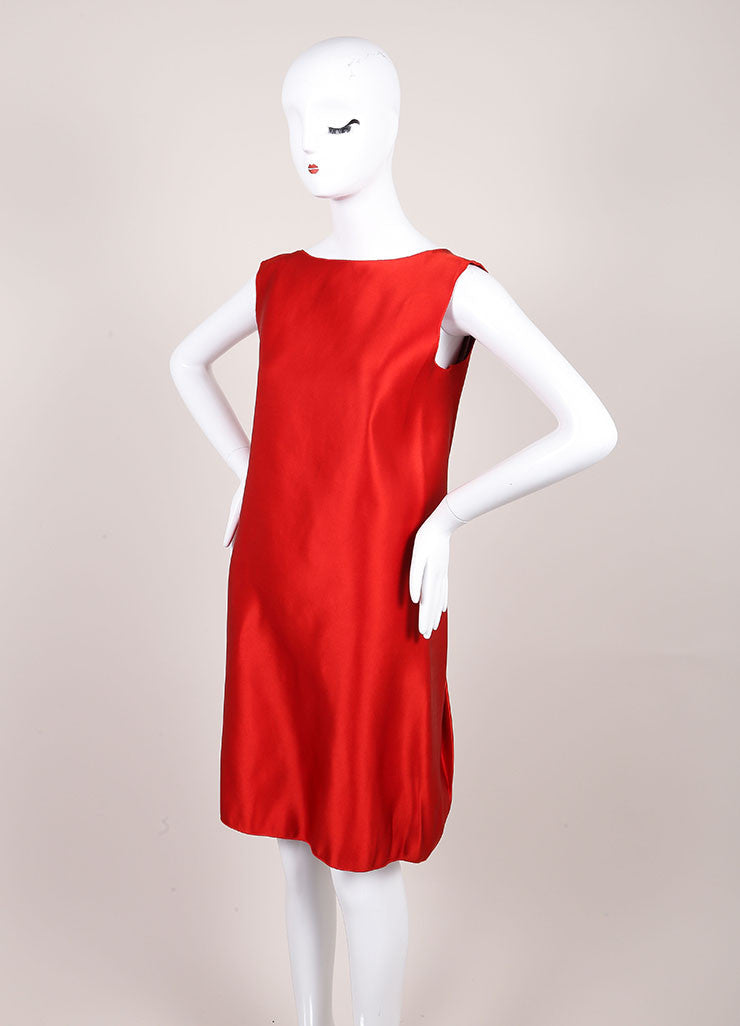 Lanvin Red Silk Draped Back Sleeveless Shift Dress Sideview