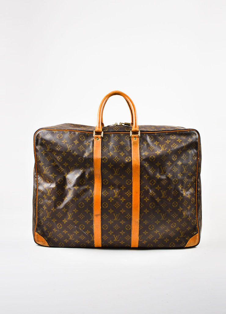 "Louis Vuitton Brown and Tan Monogram Canvas ""Sirius 60"" Suitcase Luggage Frontview"