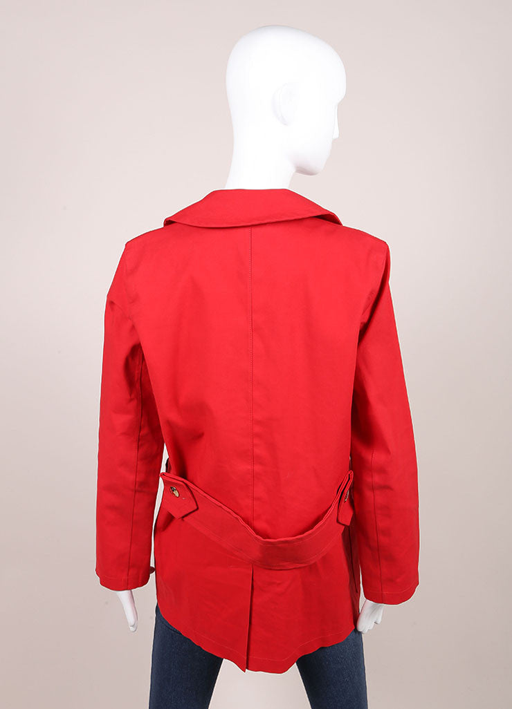 "Louis Vuitton Red Cotton Double Breasted ""Mackintosh"" Short Trench Coat Backview"