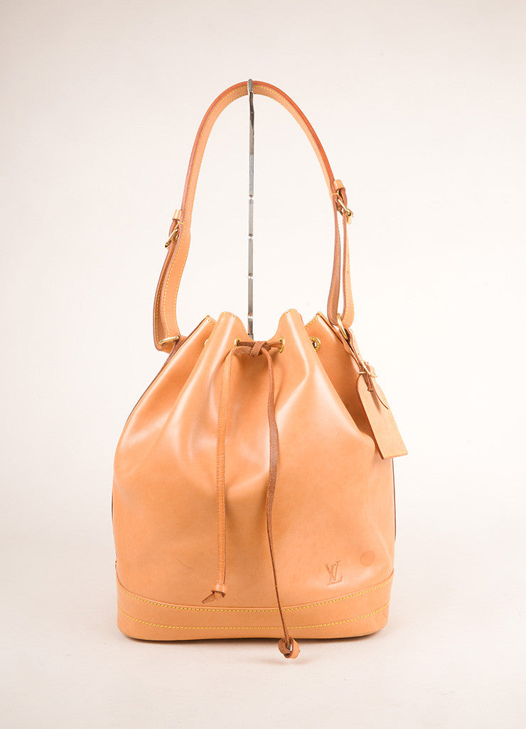 "Louis Vuitton Tan Vachetta Leather ""Noe"" Large Bucket Bag Frontview"