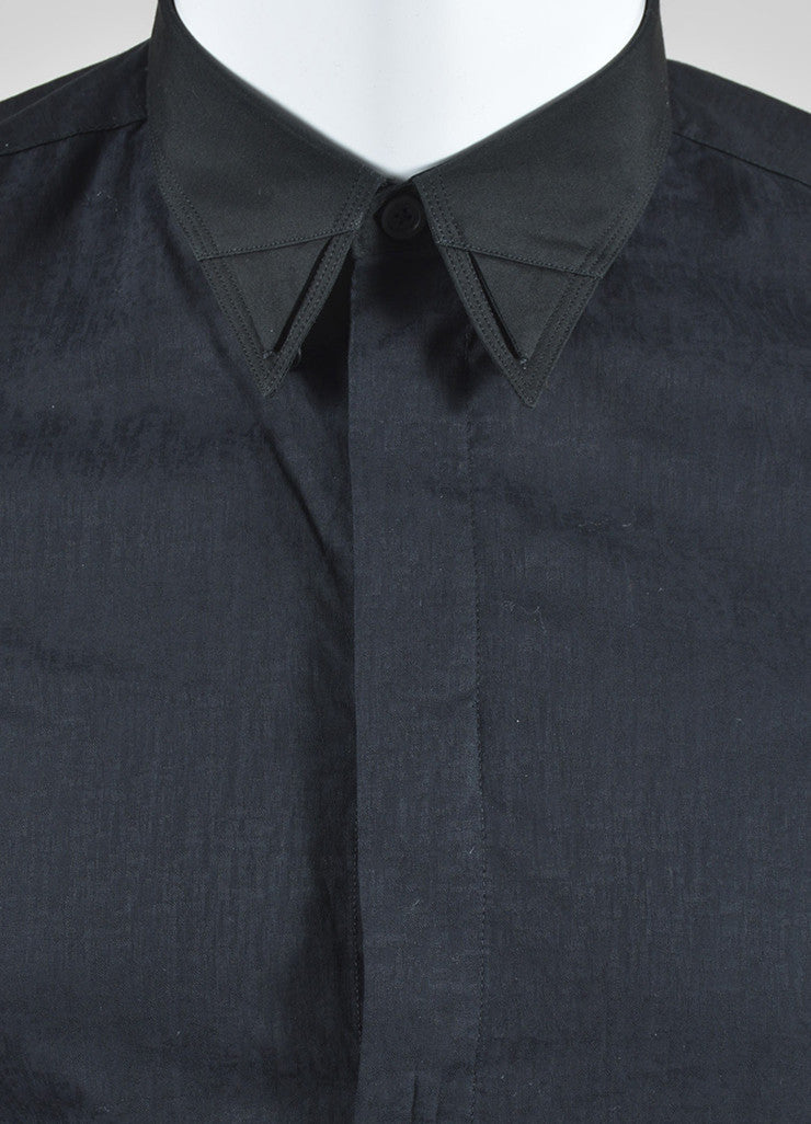 Men's Givenchy Black Cotton Button Down Layer Collar Long Sleeve Shirt Detail