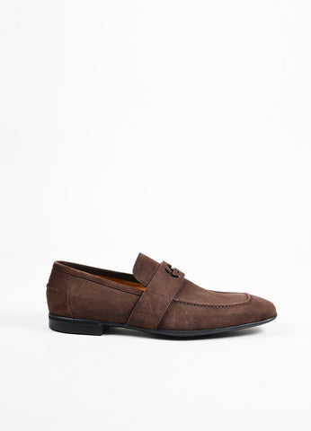 Men's Gucci Brown Suede Square Toe Loafers Side