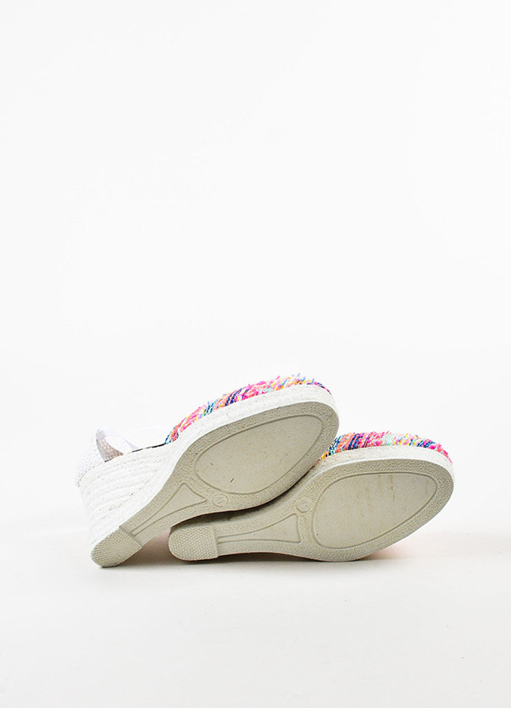 Manebi Pink and Multicolor Tweed Ankle Wrap Espadrille Wedge Heels Outsoles