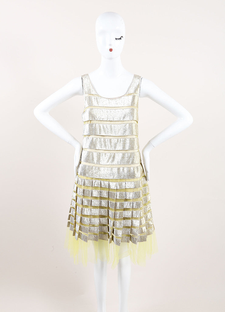 Marc Jacobs Yellow and Gold Metallic Striped Pleated Sleeveless Dress Frontview