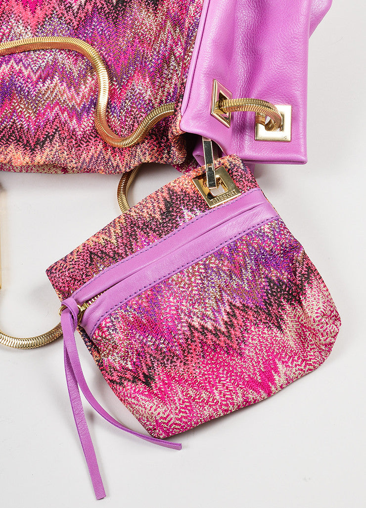 Pink and Multicolor Missoni Leather and Textile Chevron Zig Zag Shoulder Bag Pouch