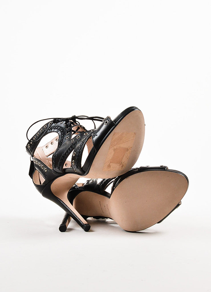 Miu Miu Black Leather Lace Up Grommet Sandal Heels outsoles