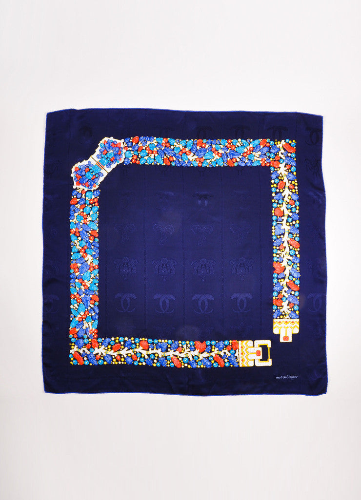Must de Cartier Navy and Multicolor Silk Jewel Leaf Embossed Printed Scarf Frontview