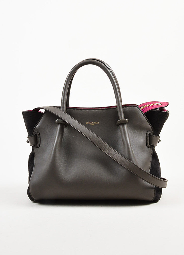 "Nina Ricci Grey and Magenta Leather ""Le Marche"" Shoulder Bag Frontview"