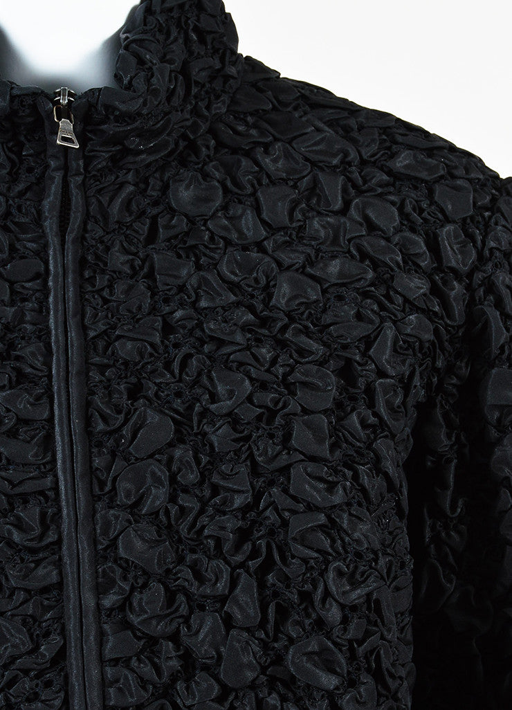 Prada Black Silk Blend Smocked Half Sleeve Elastic Waist Crop Jacket Detail