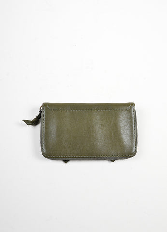 Olive Green Proenza Schouler Leather Zip Wallet Backview