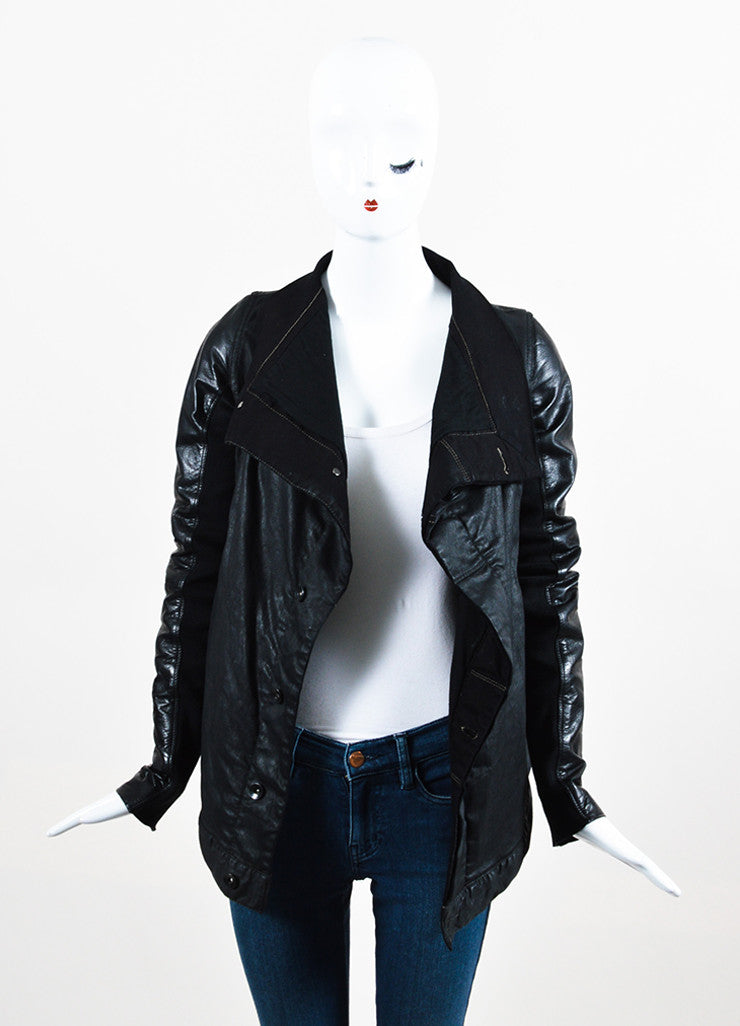Rick Owens Black Waxed Denim Leather Sleeve Buttoned Jacket Frontview