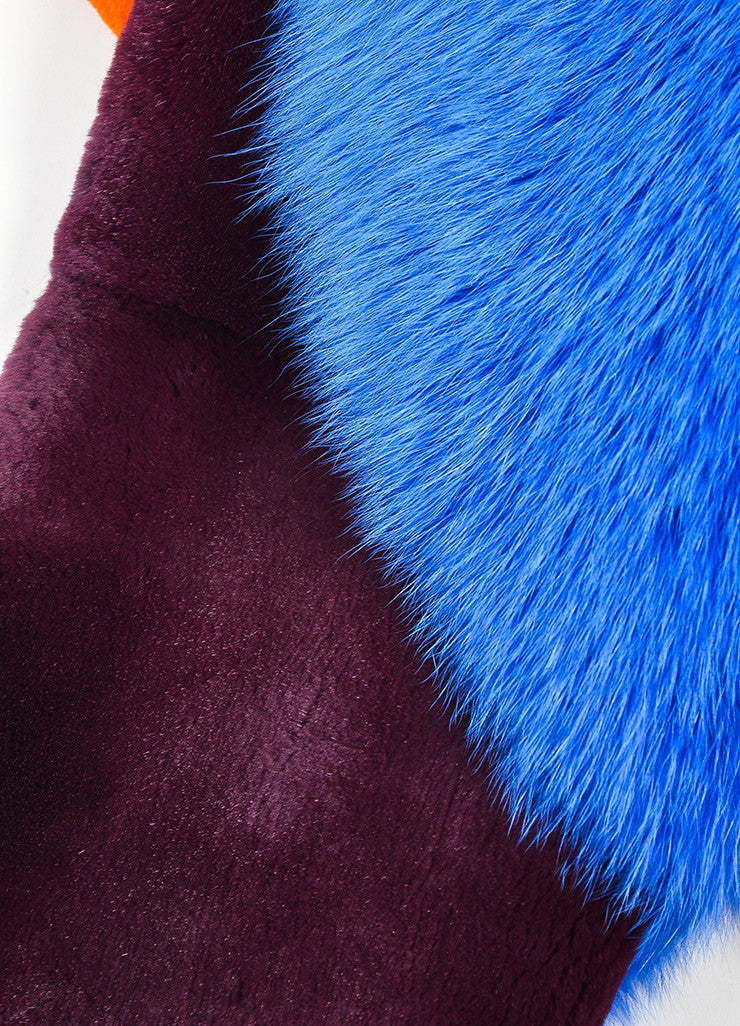 "Blue, Orange, and Burgundy Roksanda Fox Rabbit Fur ""Lathan"" Scarf Detail"