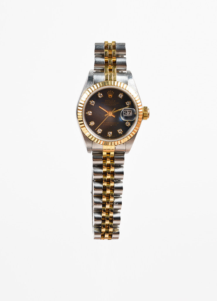 "Rolex 18K Gold, Stainless Steel, and Diamond ""Oyster Perpetual Datejust"" Automatic Watch Frontview"