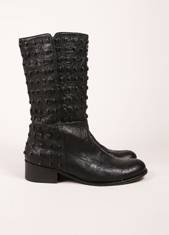 Thomas Wylde Black Studded Skull Leather Boots Sideview