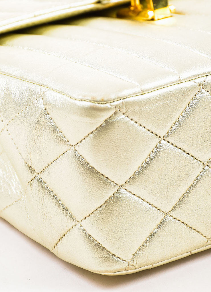 "Chanel Metallic Gold Leather Vertical Quilted ""Kelly Flap"" Handbag Detail"