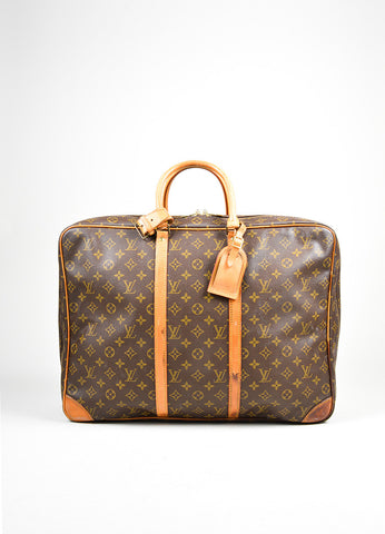 "Brown Louis Vuitton Monogram Canvas ""Sirius 55"" Luggage Travel Bag Frontview"