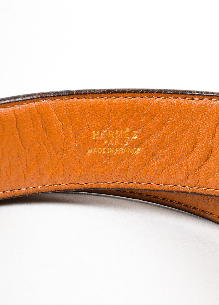 Men's Hermes Brown Leather Gold Toned Buckle Belt Brand