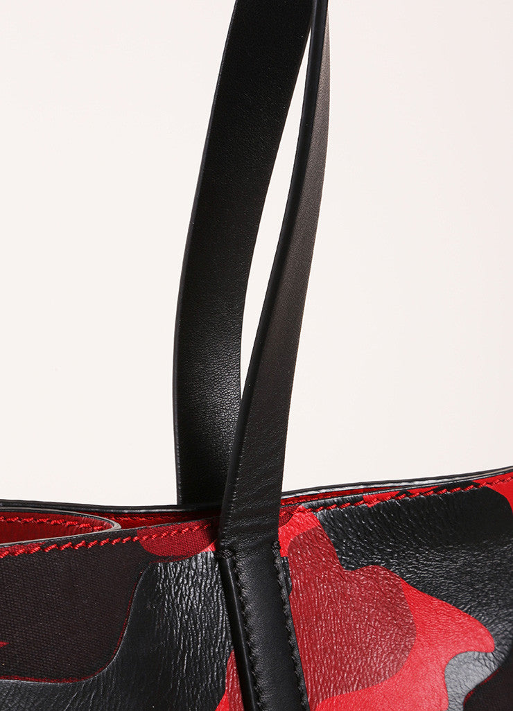 "Valentino Red and Black Leather and Canvas Camo Medium Soft ""Rockstud"" Tote Bag Detail 2"