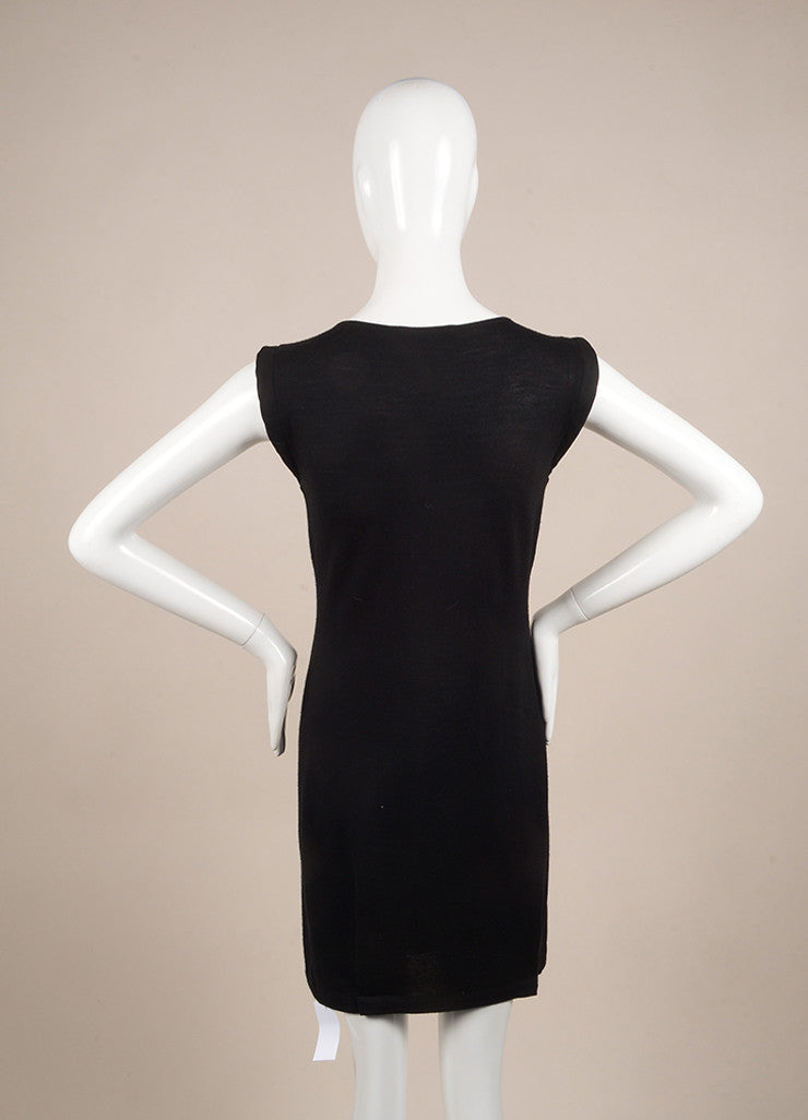 Valentino Black Bead Embellished Wool, Silk, and Cashmere Sleeveless Knit Dress Backview