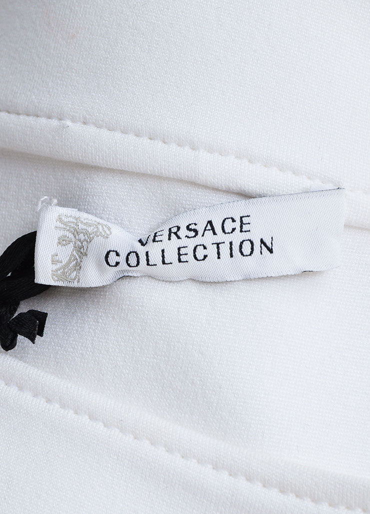 Versace White Knit Sleeveless Pleated Skater Dress Brand