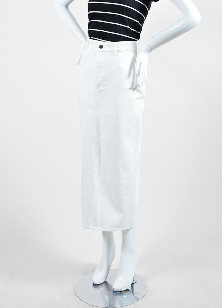 White ‰ۢÌöÌÛVictoria Beckham Jeans Denim Slit Midi Pencil Skirt Sideview