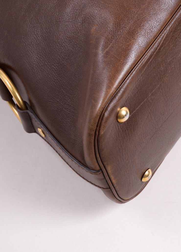 "Yves Saint Laurent Brown Leather ""Muse"" Shoulder Bag Detail"