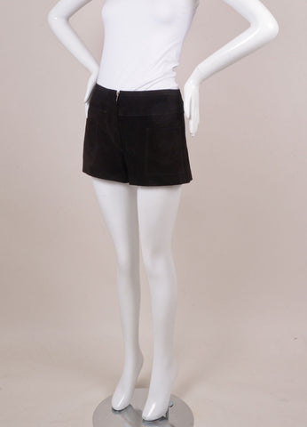 Black Suede leather Patch Pocket Shorts