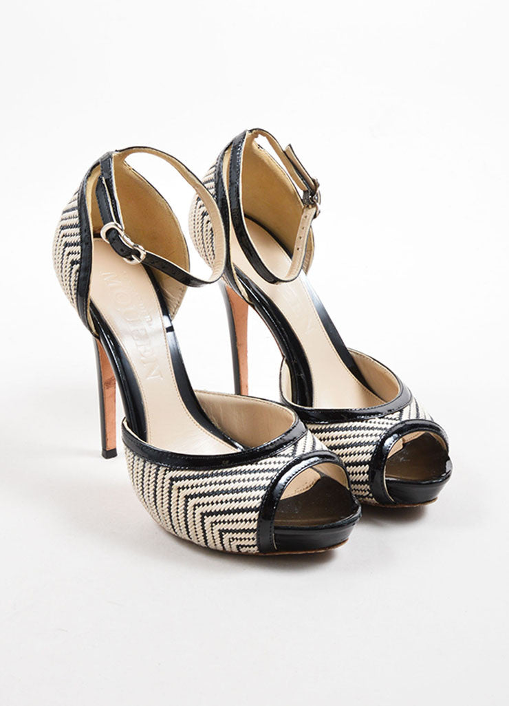 Alexander McQueen Black and White Woven Open Toe Pumps Front