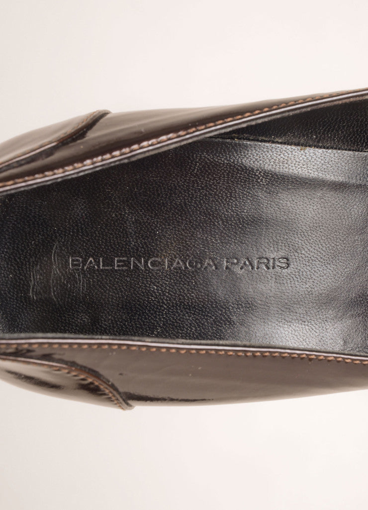 Balenciaga Brown Patent Leather Knotted Loafer Pumps Brand
