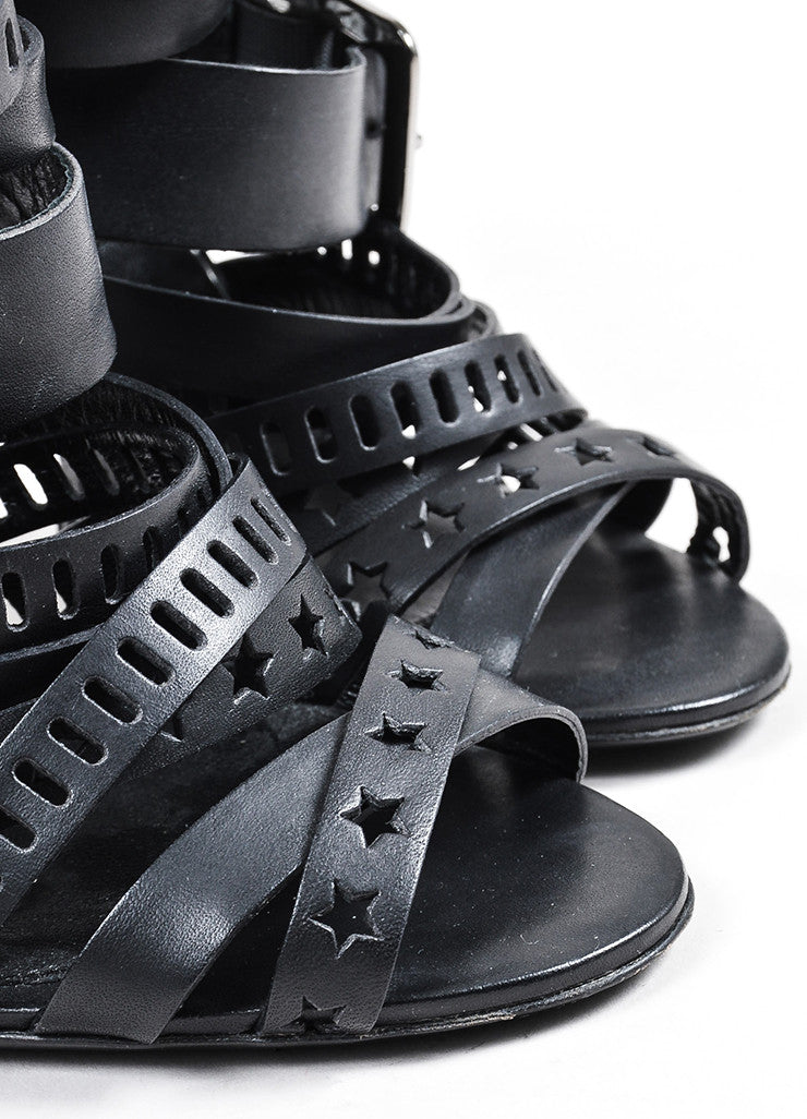 Black Balmain Leather Star Laser Cut Cage Sandal Heels Detail