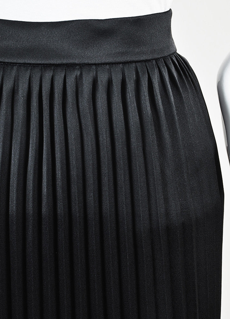 Balmain Black Satin Accordion Pleated Maxi Skirt Detail