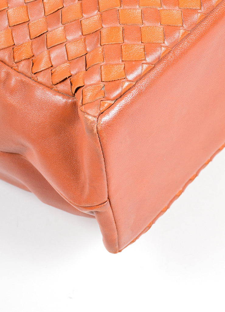 Bottega Veneta Cognac Brown Woven Intrecciato Leather Tote Bag Detail