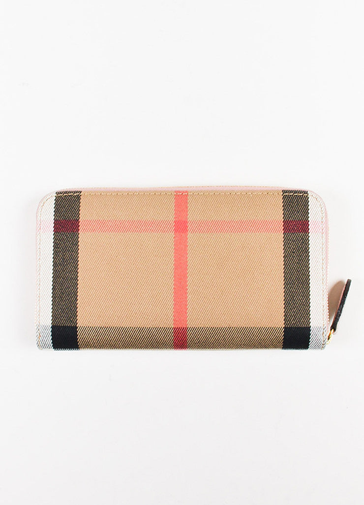 "Burberry Pink and Multicolor Leather Plaid ""Elmore House Check Derby"" Wallet Backview"