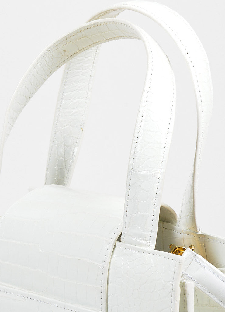 Bulgari White and Gold Toned Crocodile Small Satchel Bag Detail 2