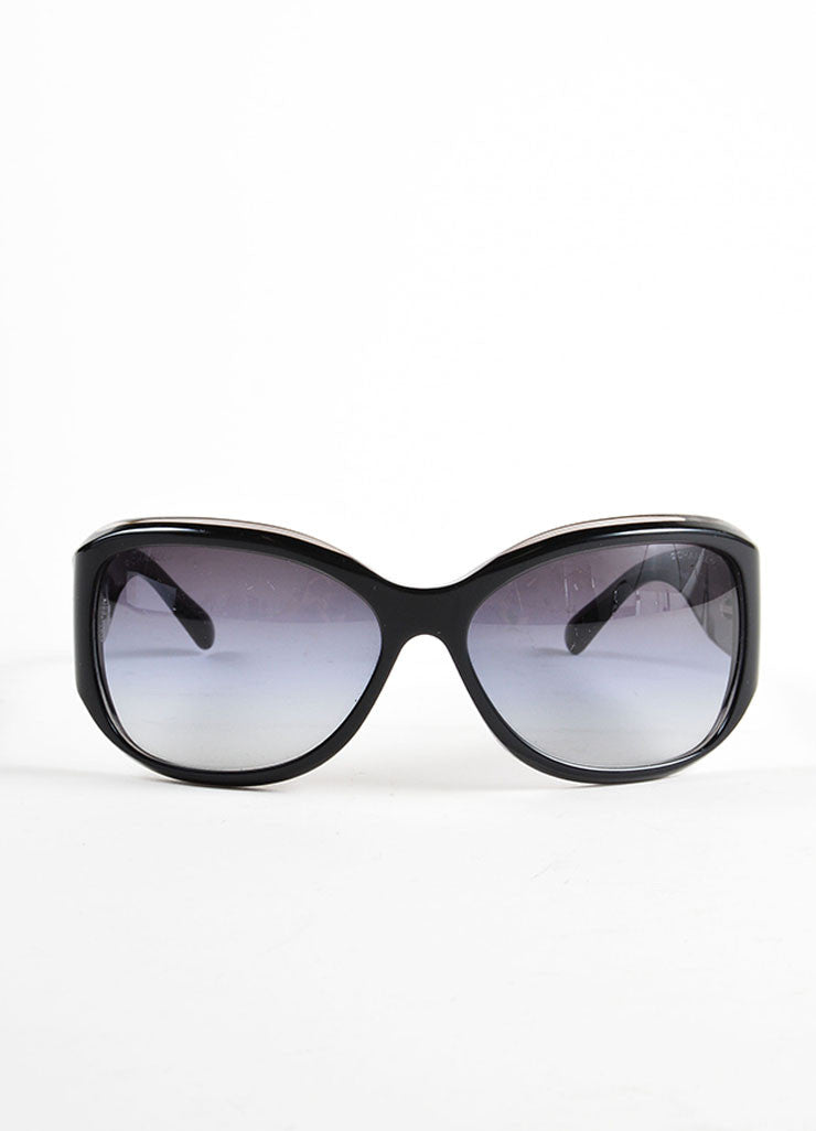 "Chanel Black Glossy ""CC"" Logo Oversized Oval Frame ""5226-H"" Sunglasses Frontview"