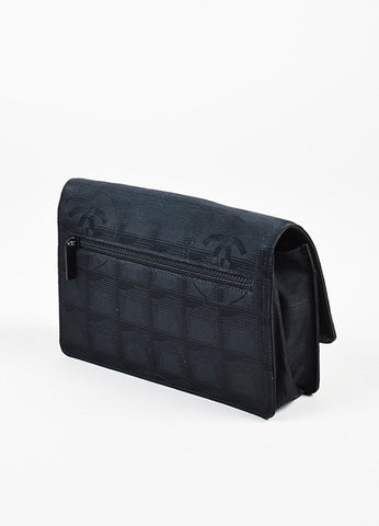 Chanel Black Jacquard 'CC' Flap Wallet On Chain Bag Sideview
