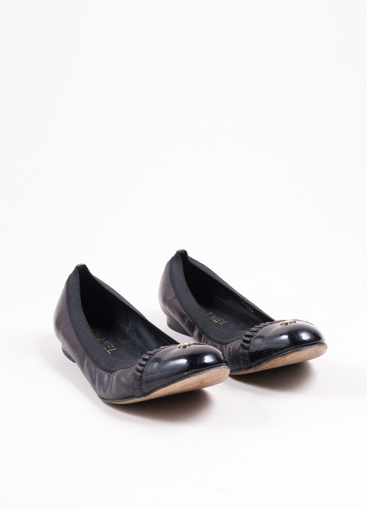 "Chanel Black Leather Patent Toe ""CC"" Flats Frontview"