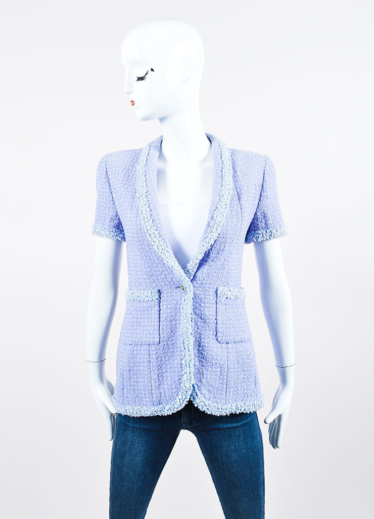 Periwinkle Metallic Chanel Tweed Sequin Trim Short Sleeve Skirt Suit Jacket