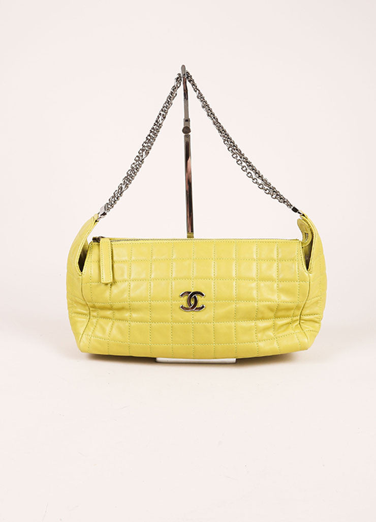 Chanel Lime Green Lambskin Leather Quilted Multi Chain Shoulder Bag Frontview