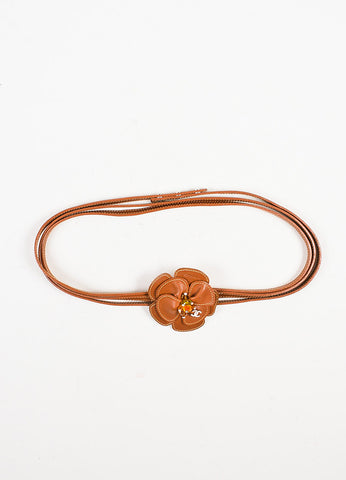 ¥éËChanel Tan Leather Camellia Flower Crystal Bead 'CC' Wrap Thin Belt Frontview