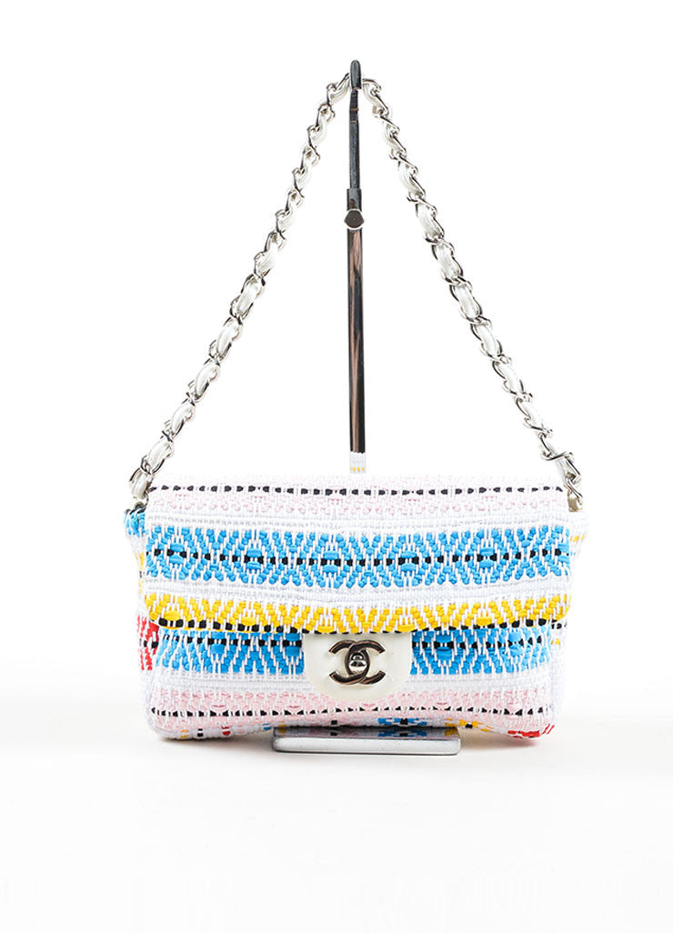 "White and Multicolor Chanel Woven Embroidered Ribbon Flap ""CC"" Turnlock Flap Bag Frontview"