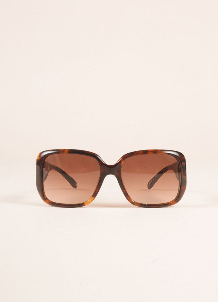 "Chloe Brown Tortoiseshell Plastic ""CL 2239"" Square Sunglasses Frontview"
