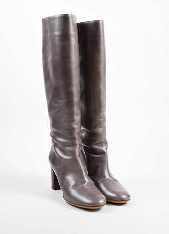 "äó¢íšíóChloe Grey and Brown Leather ""Sandy Sport"" Stacked Heel Tall Boots Frontview"