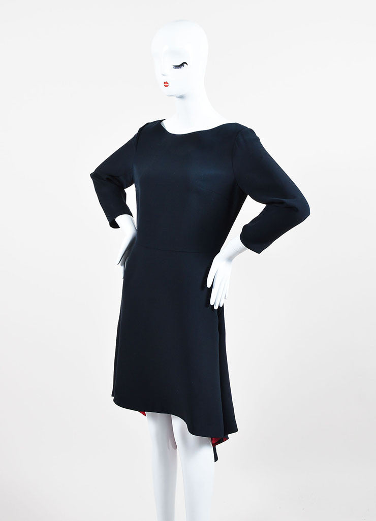 Black and Red Christian Dior Silk and Wool Contrast Lining Dress Sideview
