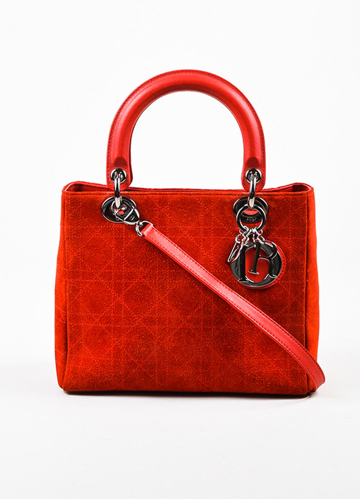 "Red Christian Dior Suede Quilted Medium ""Lady Dior Cannage"" Bag Front"